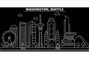 Seattle silhouette skyline. USA - Seattle vector city, american linear architecture, buildings. Seattle travel illustration, outline landmarks. USA flat icon, american line banner