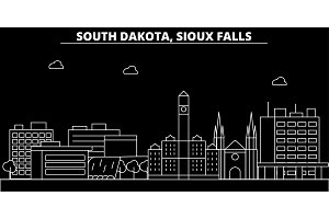 Sioux Falls silhouette skyline. USA - Sioux Falls vector city, american linear architecture, buildings. Sioux Falls travel illustration, outline landmarks. USA flat icon, american line banner