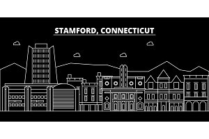 Stamford silhouette skyline. USA - Stamford vector city, american linear architecture, buildings. Stamford travel illustration, outline landmarks. USA flat icon, american line banner