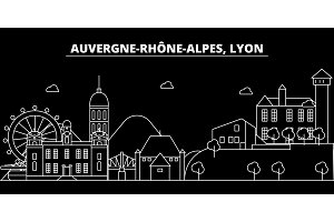 Lyon silhouette skyline. France - Lyon vector city, french linear architecture, buildings. Lyon travel illustration, outline landmarks. France flat icon, french line banner