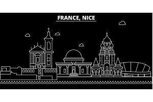 Nice silhouette skyline. France - Nice vector city, french linear architecture, buildings. Nice travel illustration, outline landmarks. France flat icon, french line banner