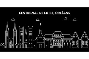 Orleans silhouette skyline. France - Orleans vector city, french linear architecture, buildings. Orleans line travel illustration, landmarks. France flat icon, french outline design banner