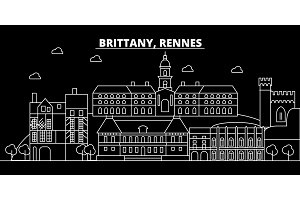 Rennes silhouette skyline. France - Rennes vector city, french linear architecture, buildings. Rennes travel illustration, outline landmarks. France flat icon, french line banner