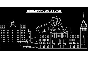 Duisburg silhouette skyline. Germany - Duisburg vector city, german linear architecture, buildings. Duisburg travel illustration, outline landmarks. Germany flat icon, german line banner