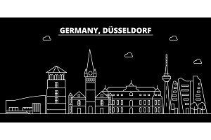 Dusseldorf silhouette skyline. Germany - Dusseldorf vector city, german linear architecture, buildings. Dusseldorf line travel illustration, landmarks. Germany flat icon, german outline design banner