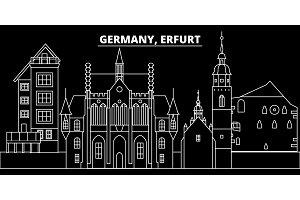 Erfurt silhouette skyline. Germany - Erfurt vector city, german linear architecture, buildings. Erfurt travel illustration, outline landmarks. Germany flat icon, german line banner