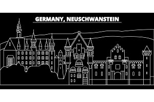 Neuschwanstein skyline. Germany - Neuschwanstein vector city, german linear architecture, buildings. Neuschwanstein travel illustration, outline landmarks. Germany flat icon, german line banner