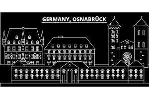 Osnabruck silhouette skyline. Germany - Osnabruck vector city, german linear architecture, buildings. Osnabruck line travel illustration, landmarks. Germany flat icon, german outline design banner