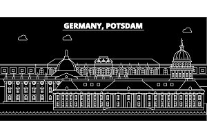 Potsdam silhouette skyline. Germany - Potsdam vector city, german linear architecture, buildings. Potsdam travel illustration, outline landmarks. Germany flat icon, german line banner