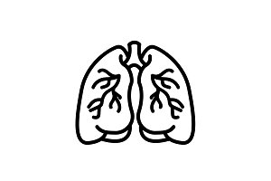 Web line icon. Lungs black on white