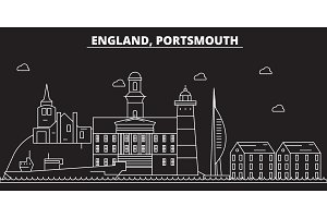 Portsmouth silhouette skyline. Great Britain - Portsmouth vector city, british linear architecture. Portsmouth travel illustration, outline landmarks. Great Britain flat icon, british line banner