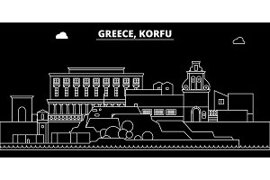 Korfu silhouette skyline. Greece - Korfu vector city, greek linear architecture, buildings. Korfu travel illustration, outline landmarks. Greece flat icon, greek line banner
