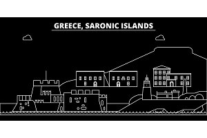 Saronic Islands silhouette skyline. Greece - Saronic Islands vector city, greek linear architecture. Saronic Islands travel illustration, outline landmarks. Greece flat icon, greek line banner