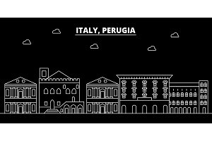 Perugia silhouette skyline. Italy - Perugia vector city, italian linear architecture, buildings. Perugia travel illustration, outline landmarks. Italy flat icon, italian line banner