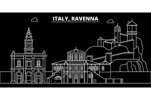 Ravenna silhouette skyline. Italy - Ravenna vector city, italian linear architecture, buildings. Ravenna travel illustration, outline landmarks. Italy flat icon, italian line banner