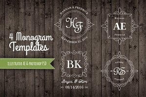 4 Decorative Monogram Templates AI