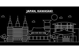 Kawasaki silhouette skyline. Japan - Kawasaki vector city, japanese linear architecture, buildings. Kawasaki line travel illustration, landmarks. Japan flat icon, japanese outline design banner