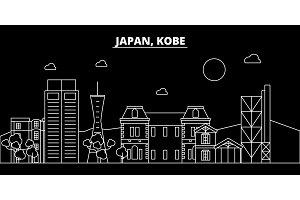 Kobe silhouette skyline. Japan - Kobe vector city, japanese linear architecture, buildings. Kobe travel illustration, outline landmarks. Japan flat icon, japanese line banner