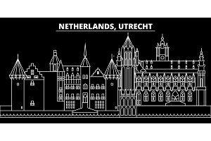 Utrecht silhouette skyline. Netherlands - Utrecht vector city, dutch linear architecture, buildings. Utrecht travel illustration, outline landmarks. Netherlands flat icon, dutch line banner