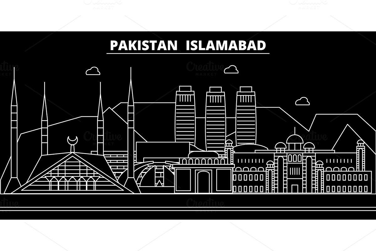 Islamabad silhouette skyline  Pakistan - Islamabad vector city, pakistani  linear architecture, buildings  Islamabad travel illustration, outline