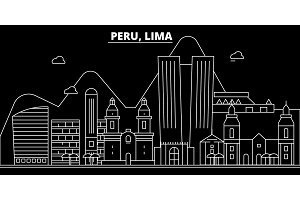 Peru silhouette skyline, vector city, peruvian linear architecture, buildings. Peru travel illustration, outline landmarkflat icon, peruvian line banner