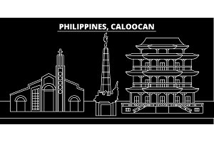 Caloocan silhouette skyline. Philippines - Caloocan vector city, filipino linear architecture, buildings. Caloocan travel illustration, outline landmarks. Philippines flat icon, filipino line banner