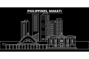 Makati silhouette skyline. Philippines - Makati vector city, filipino linear architecture, buildings. Makati travel illustration, outline landmarks. Philippines flat icon, filipino line banner