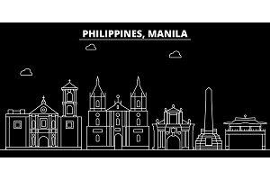 Manila silhouette skyline. Philippines - Manila vector city, filipino linear architecture, buildings. Manila travel illustration, outline landmarks. Philippines flat icon, filipino line banner