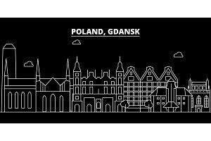 Gdansk silhouette skyline. Poland - Gdansk vector city, polish linear architecture, buildings. Gdansk travel illustration, outline landmarks. Poland flat icon, polish line banner