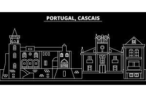 Cascais silhouette skyline. Portugal - Cascais vector city, portuguese linear architecture, buildings. Cascais travel illustration, outline landmarks. Portugal flat icon, portuguese line banner