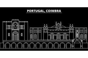 Coimbra silhouette skyline. Portugal - Coimbra vector city, portuguese linear architecture, buildings. Coimbra travel illustration, outline landmarks. Portugal flat icon, portuguese line banner