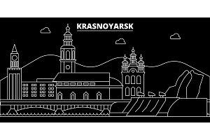 Krasnoyarsk silhouette skyline. Russia - Krasnoyarsk vector city, russian linear architecture, buildings. Krasnoyarsk travel illustration, outline landmarks. Russia flat icon, russian line banner