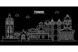 Tomsk silhouette skyline. Russia - Tomsk vector city, russian linear architecture, buildings. Tomsk travel illustration, outline landmarks. Russia flat icon, russian line banner