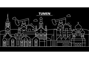 Tumen silhouette skyline. Russia - Tumen vector city, russian linear architecture, buildings. Tumen travel illustration, outline landmarks. Russia flat icon, russian line banner