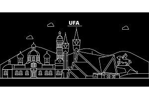 Ufa silhouette skyline. Russia - Ufa vector city, russian linear architecture, buildings. Ufa travel illustration, outline landmarks. Russia flat icon, russian line banner