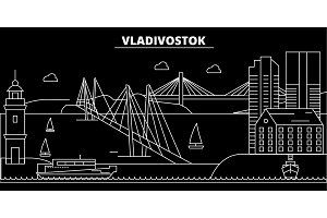 Vladivostock silhouette skyline. Russia - Vladivostock vector city, russian linear architecture, buildings. Vladivostock travel illustration, outline landmarks. Russia flat icon, russian line banner
