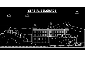 Belgrade silhouette skyline. Serbia - Belgrade vector city, serbian linear architecture, buildings. Belgrade travel illustration, outline landmarks. Serbia flat icon, serbian line banner