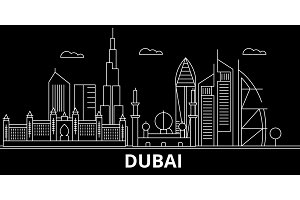 Dubai silhouette skyline. United Arab Emirates - Dubai vector city, arab linear architecture, buildings. Dubai travel illustration, outline landmarks. United Arab Emirates flat icon, arab line banner