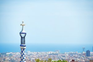 Park Guell in city of Barcelona