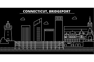 Bridgeport silhouette skyline. USA - Bridgeport vector city, american linear architecture, buildings. Bridgeport travel illustration, outline landmarks. USA flat icon, american line banner