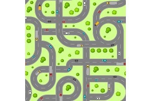 Seamless pattern top view of roads.
