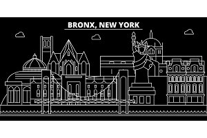 Bronx silhouette skyline. USA - Bronx vector city, american linear architecture, buildings. Bronx travel illustration, outline landmarks. USA flat icon, american line banner