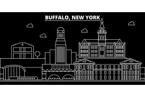 Buffalo silhouette skyline. USA - Buffalo vector city, american linear architecture, buildings. Buffalo travel illustration, outline landmarks. USA flat icon, american line banner