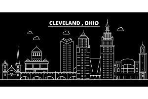 Cleveland silhouette skyline. USA - Cleveland vector city, american linear architecture, buildings. Cleveland travel illustration, outline landmarks. USA flat icon, american line banner