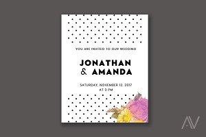 Polka Dots & Flowers Invitation