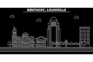 Louisville silhouette skyline. USA - Louisville vector city, american linear architecture, buildings. Louisville travel illustration, outline landmarks. USA flat icon, american line banner