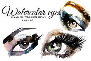 3 Watercolor eyes illustration set