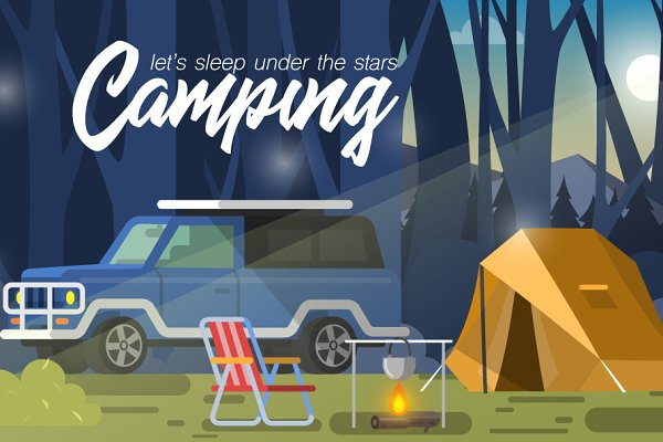 Camping. Time travel