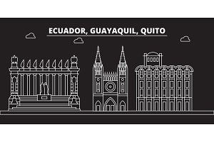 Guayaquil silhouette skyline. Ecuador - Guayaquil vector city, ecuadorian linear architecture, buildings. Guayaquil travel illustration, outline landmarks. Ecuador flat icon, ecuadorian line banner