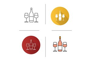 Wine and two glasses icon